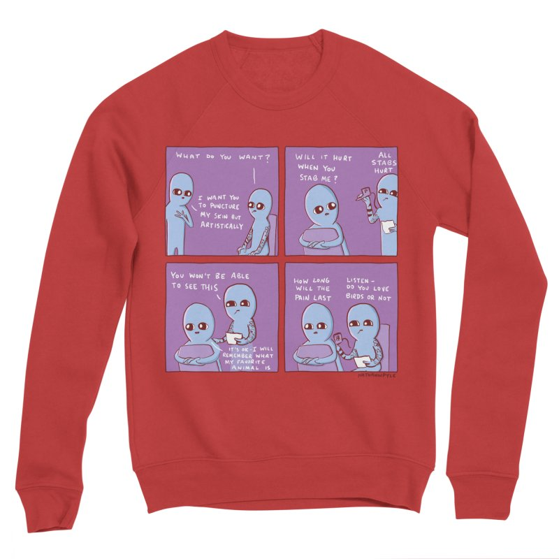 STRANGE PLANET: HOW LONG WILL THE PAIN LAST / DO YOU LOVE BIRDS OR NOT Women's Sponge Fleece Sweatshirt by Nathan W Pyle