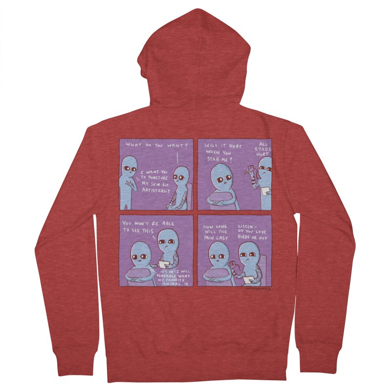 STRANGE PLANET: HOW LONG WILL THE PAIN LAST / DO YOU LOVE BIRDS OR NOT Women's French Terry Zip-Up Hoody by Nathan W Pyle