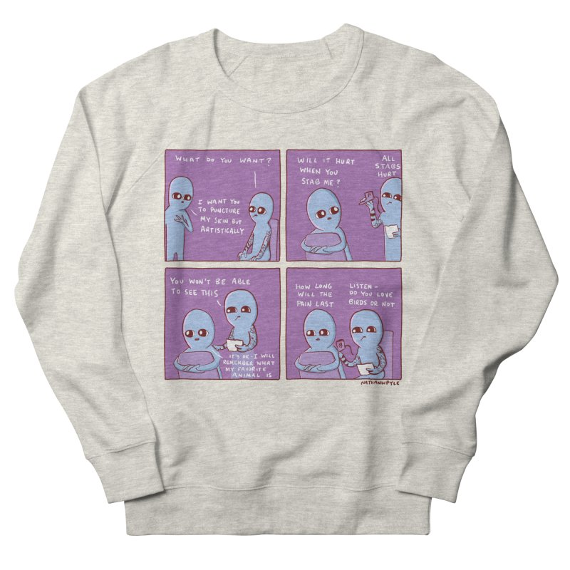 STRANGE PLANET: HOW LONG WILL THE PAIN LAST / DO YOU LOVE BIRDS OR NOT Men's French Terry Sweatshirt by Nathan W Pyle