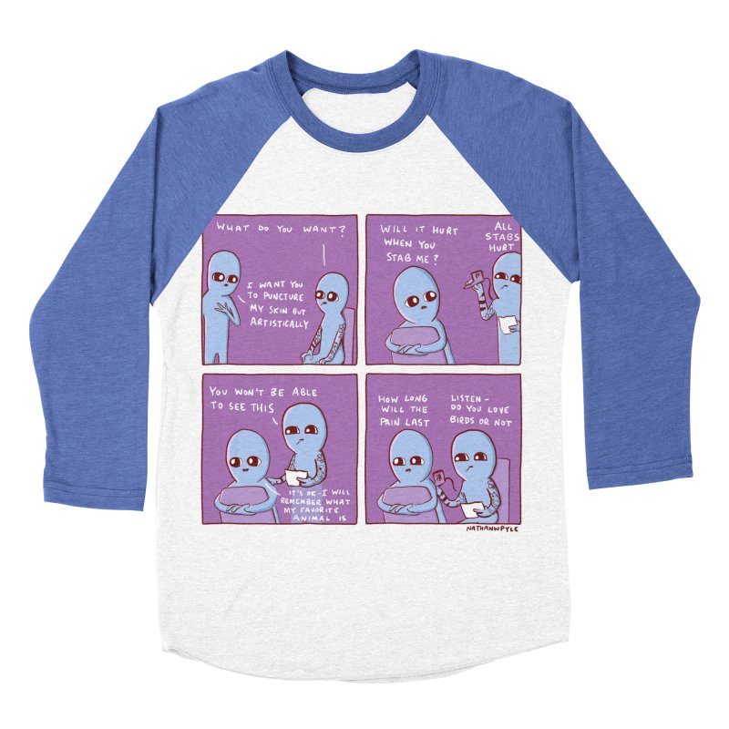 STRANGE PLANET: HOW LONG WILL THE PAIN LAST / DO YOU LOVE BIRDS OR NOT Women's Baseball Triblend Longsleeve T-Shirt by Nathan W Pyle