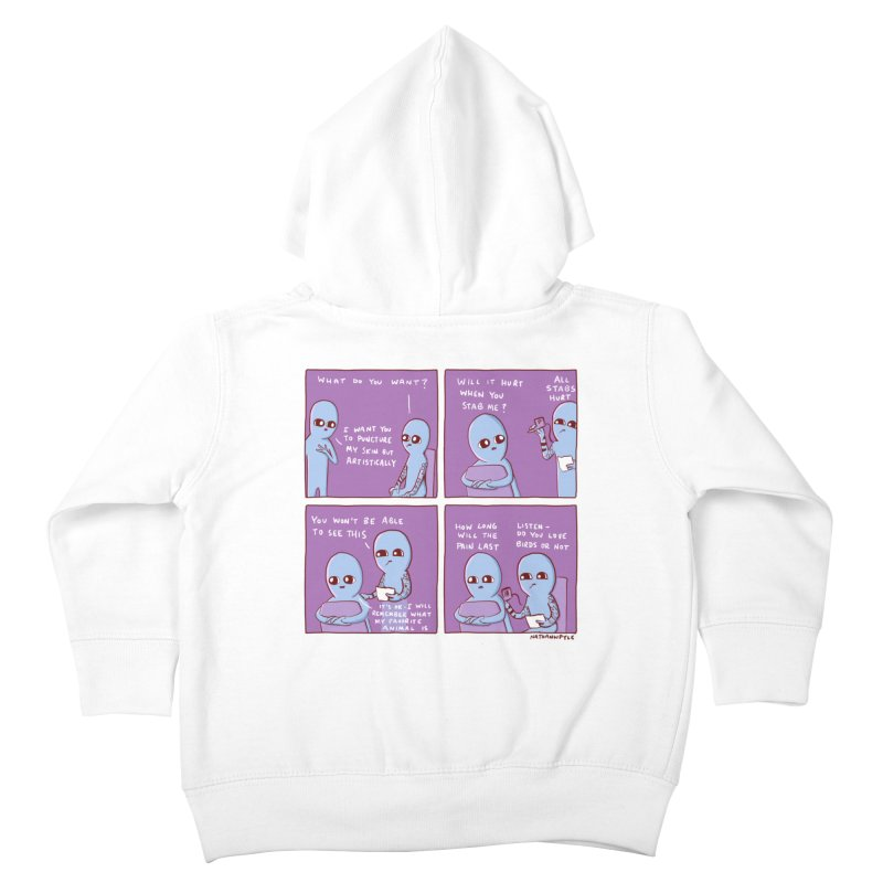 STRANGE PLANET: HOW LONG WILL THE PAIN LAST / DO YOU LOVE BIRDS OR NOT Kids Toddler Zip-Up Hoody by Nathan W Pyle