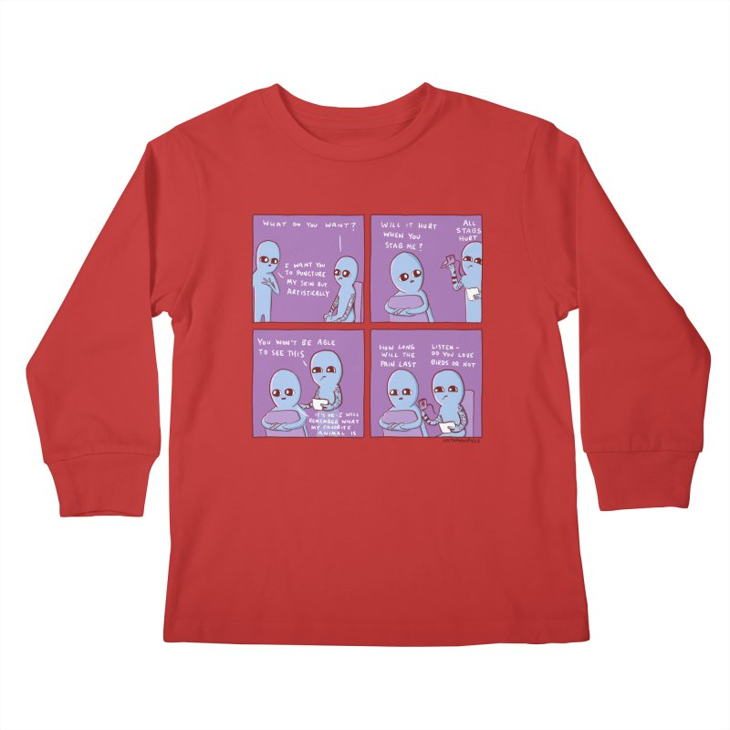 STRANGE PLANET: HOW LONG WILL THE PAIN LAST / DO YOU LOVE BIRDS OR NOT Kids Longsleeve T-Shirt by Nathan W Pyle