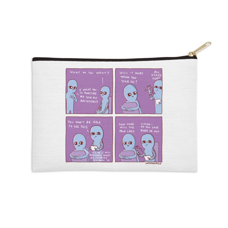 STRANGE PLANET: HOW LONG WILL THE PAIN LAST / DO YOU LOVE BIRDS OR NOT Accessories Zip Pouch by Nathan W Pyle