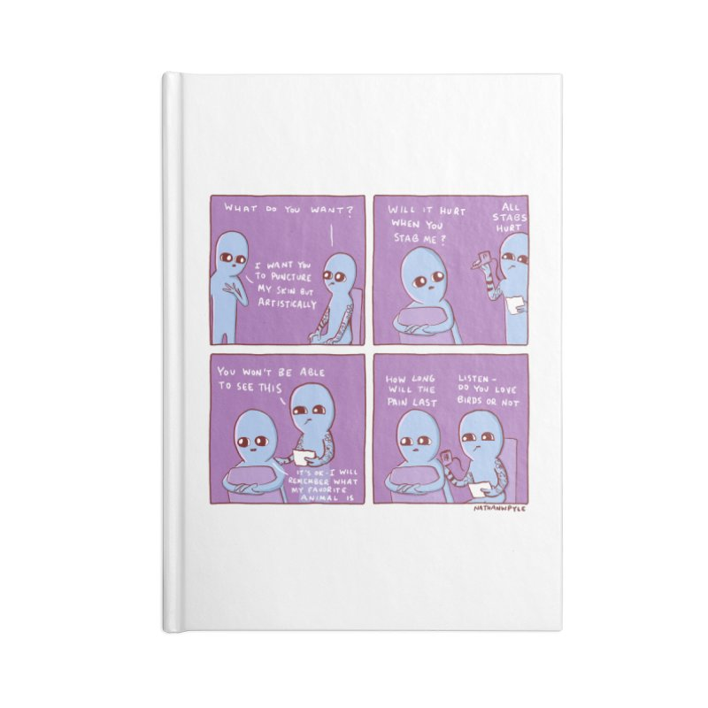 STRANGE PLANET: HOW LONG WILL THE PAIN LAST / DO YOU LOVE BIRDS OR NOT Accessories Lined Journal Notebook by Nathan W Pyle