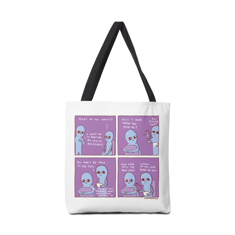 STRANGE PLANET: HOW LONG WILL THE PAIN LAST / DO YOU LOVE BIRDS OR NOT Accessories Tote Bag Bag by Nathan W Pyle