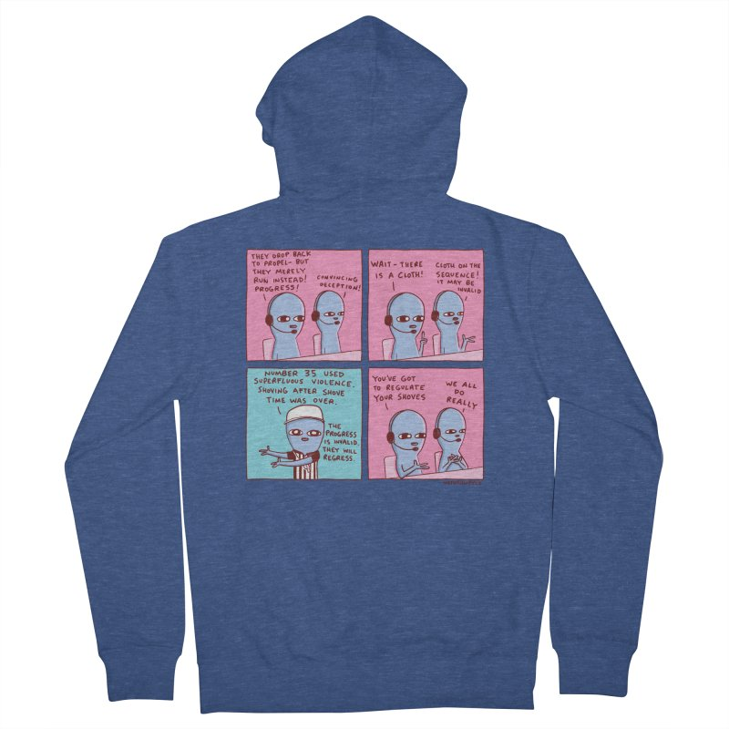 STRANGE PLANET: SUPERFLUOUS VIOLENCE / REGULATE YOUR SHOVES Women's French Terry Zip-Up Hoody by Nathan W Pyle