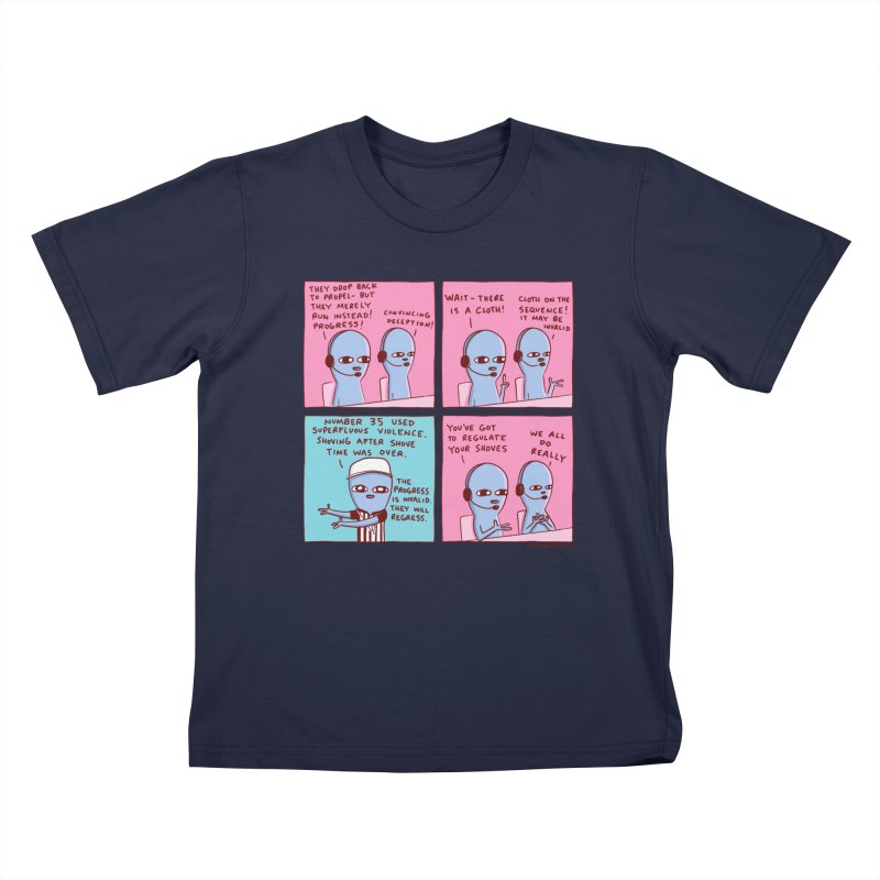 STRANGE PLANET: SUPERFLUOUS VIOLENCE / REGULATE YOUR SHOVES Kids T-Shirt by Nathan W Pyle