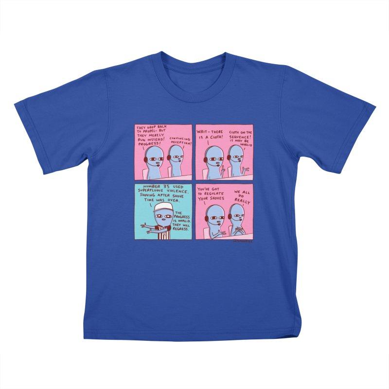 STRANGE PLANET: SUPERFLUOUS VIOLENCE / REGULATE YOUR SHOVES Kids T-Shirt by Nathan W Pyle
