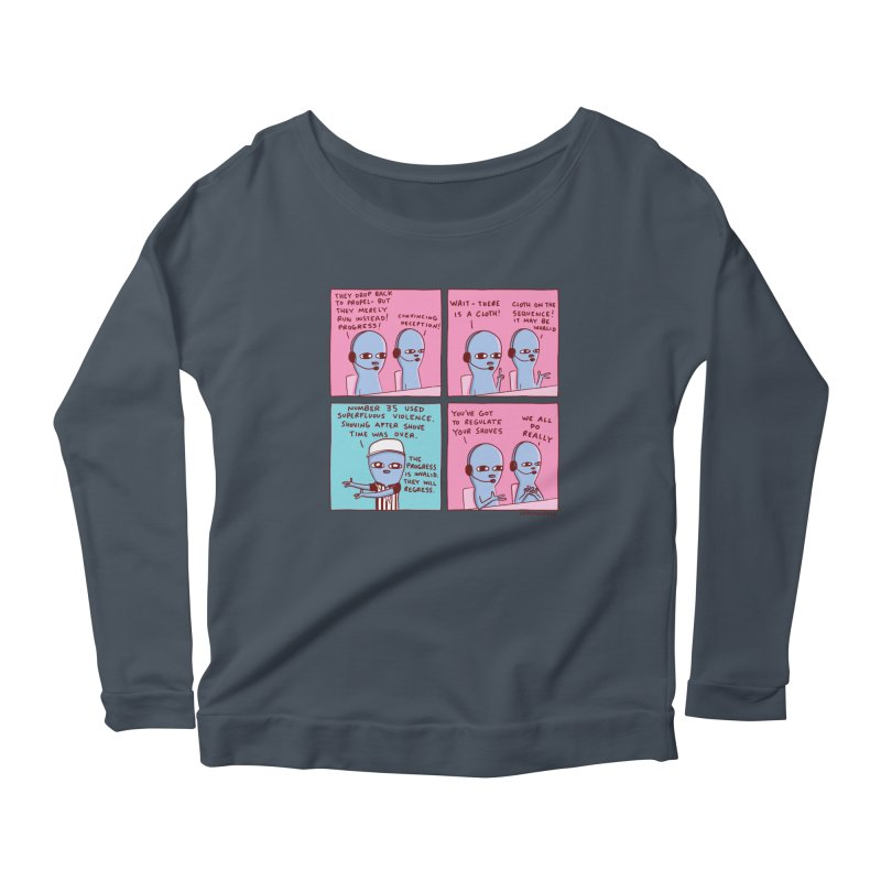 STRANGE PLANET: SUPERFLUOUS VIOLENCE / REGULATE YOUR SHOVES Women's Scoop Neck Longsleeve T-Shirt by Nathan W Pyle