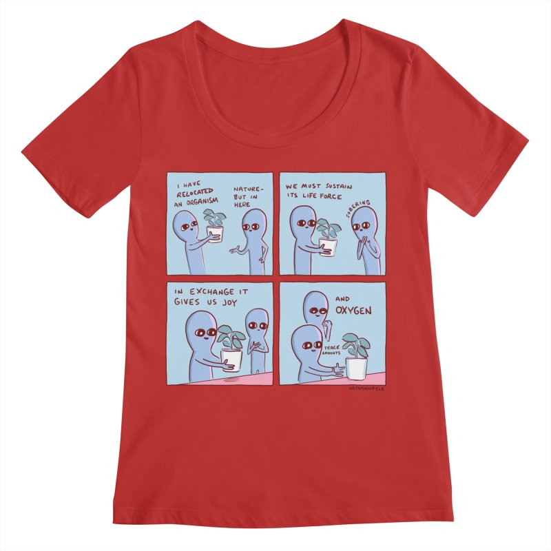 STRANGE PLANET: I HAVE RELOCATED AN ORGANISM / SUSTAIN ITS LIFE FORCE Women's Regular Scoop Neck by Nathan W Pyle