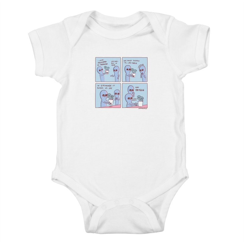 STRANGE PLANET: I HAVE RELOCATED AN ORGANISM / SUSTAIN ITS LIFE FORCE Kids Baby Bodysuit by Nathan W Pyle