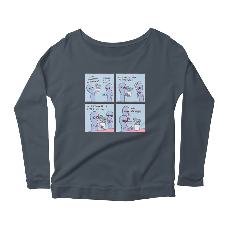 STRANGE PLANET: I HAVE RELOCATED AN ORGANISM / SUSTAIN ITS LIFE FORCE Women's Scoop Neck Longsleeve T-Shirt by Nathan W Pyle