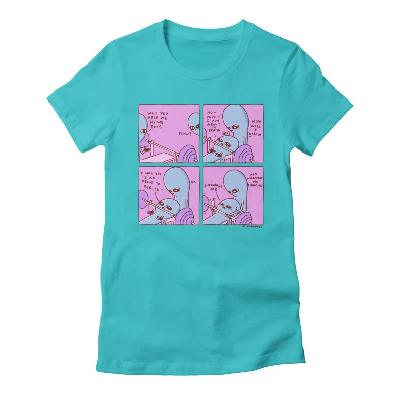 STRANGE PLANET: NO DISCOMFORT NO EXPANSION Women's Fitted T-Shirt by Nathan W Pyle