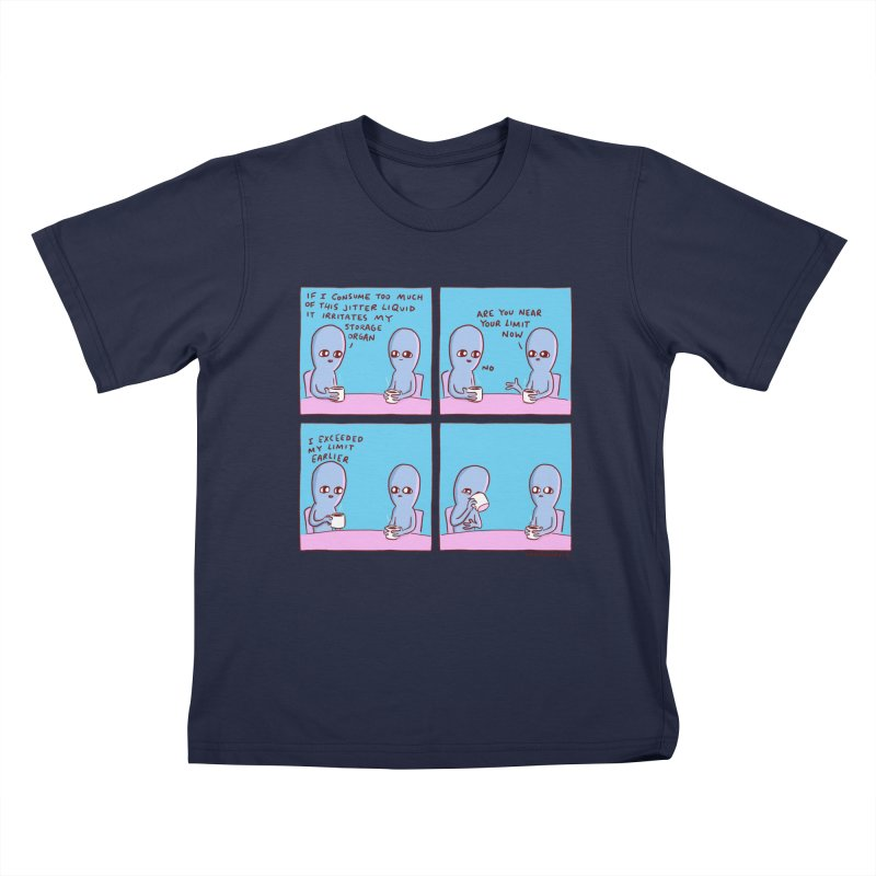 STRANGE PLANET: I EXCEEDED MY LIMIT EARLIER / JITTER LIQUID Kids T-Shirt by Nathan W Pyle