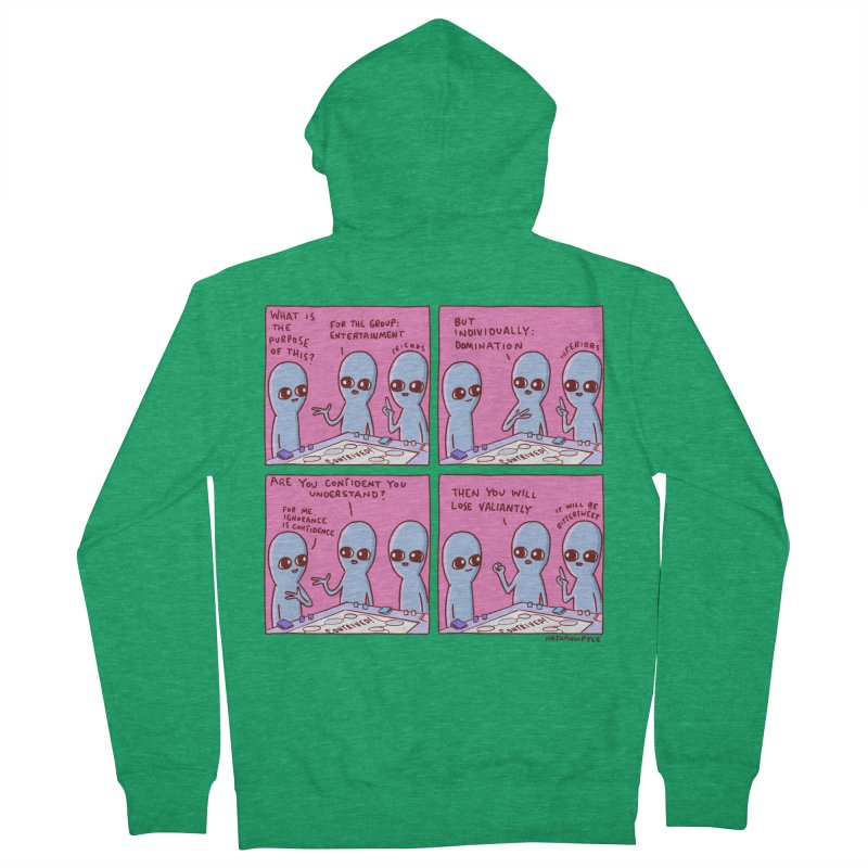 STRANGE PLANET: FOR ME IGNORANCE IS CONFIDENCE / CONTRIVED! Women's Zip-Up Hoody by Nathan W Pyle