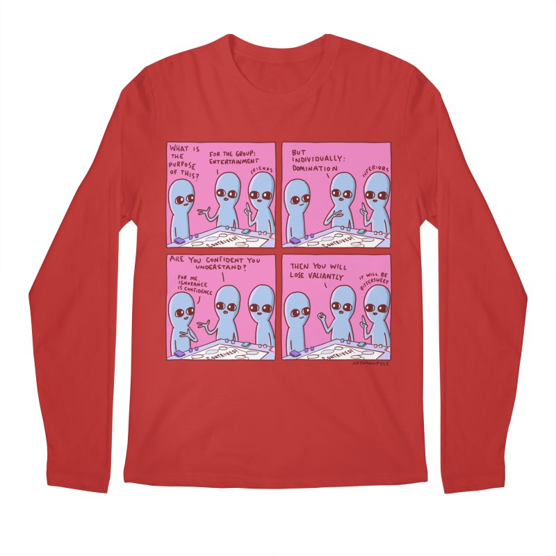 STRANGE PLANET: FOR ME IGNORANCE IS CONFIDENCE / CONTRIVED! Men's Regular Longsleeve T-Shirt by Nathan W Pyle