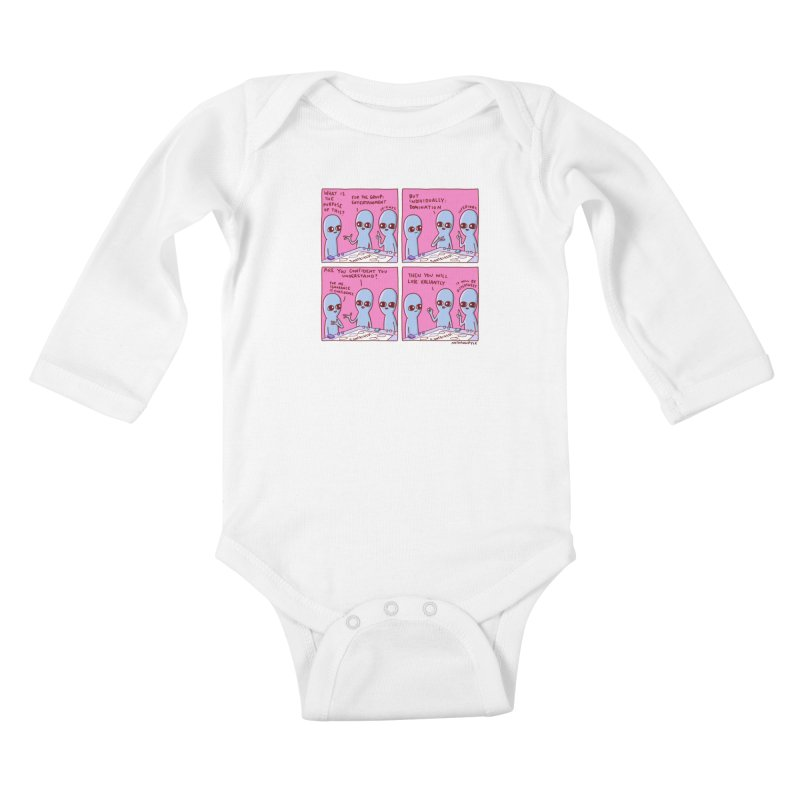STRANGE PLANET: FOR ME IGNORANCE IS CONFIDENCE / CONTRIVED! Kids Baby Longsleeve Bodysuit by Nathan W Pyle