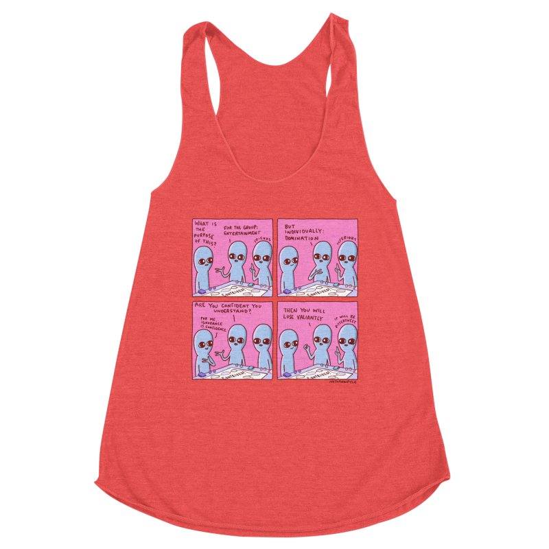 STRANGE PLANET: FOR ME IGNORANCE IS CONFIDENCE / CONTRIVED! Women's Tank by Nathan W Pyle
