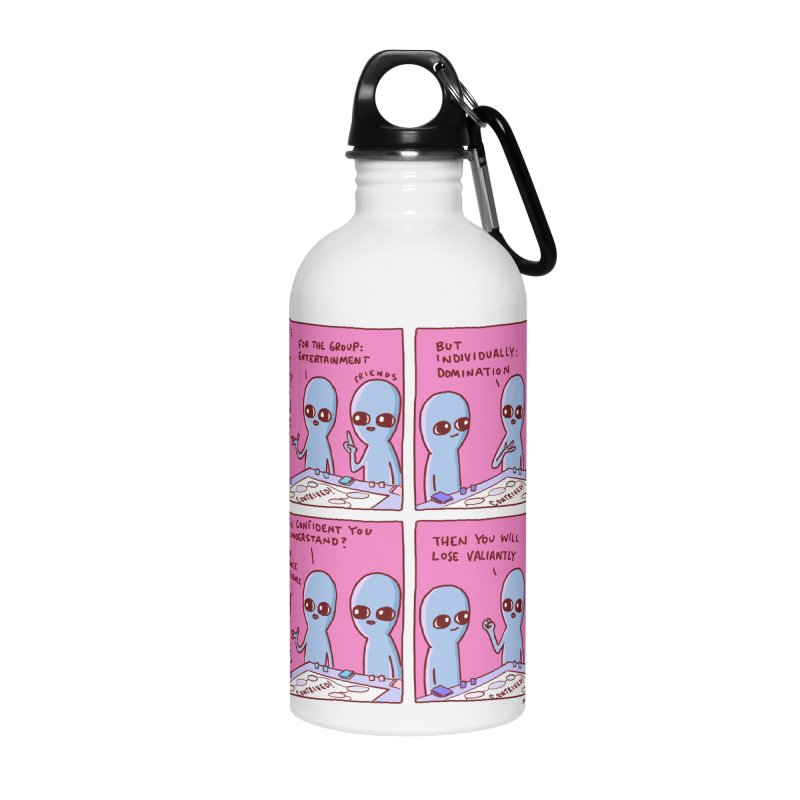STRANGE PLANET: FOR ME IGNORANCE IS CONFIDENCE / CONTRIVED! Accessories Water Bottle by Nathan W Pyle