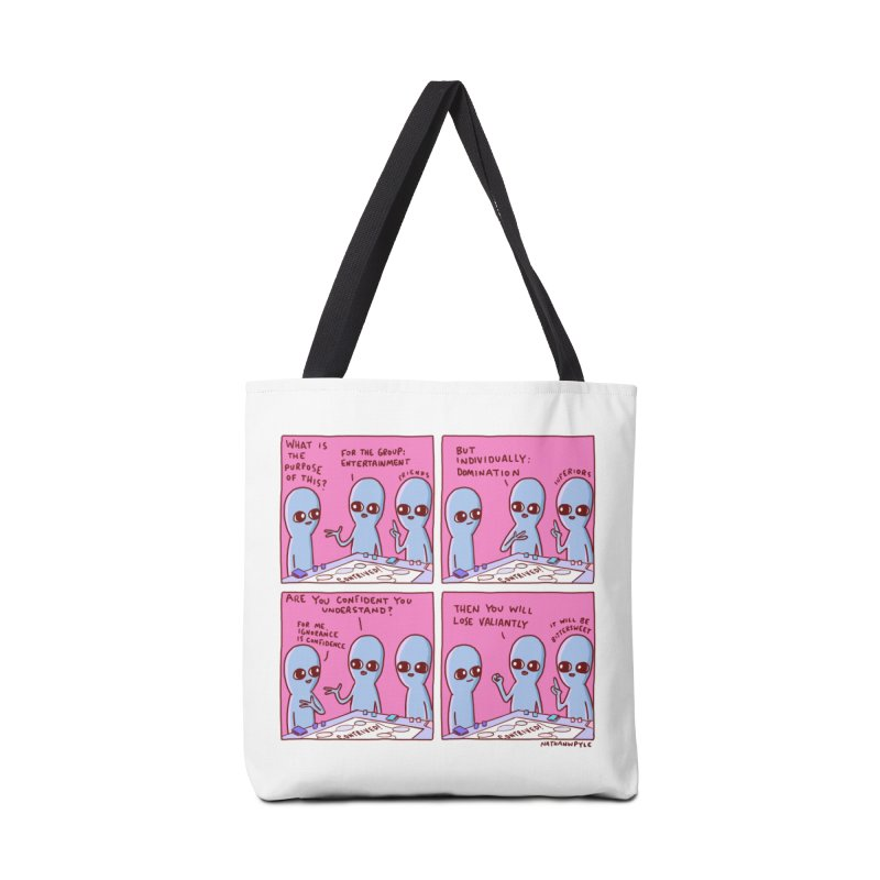 STRANGE PLANET: FOR ME IGNORANCE IS CONFIDENCE / CONTRIVED! Accessories Tote Bag Bag by Nathan W Pyle