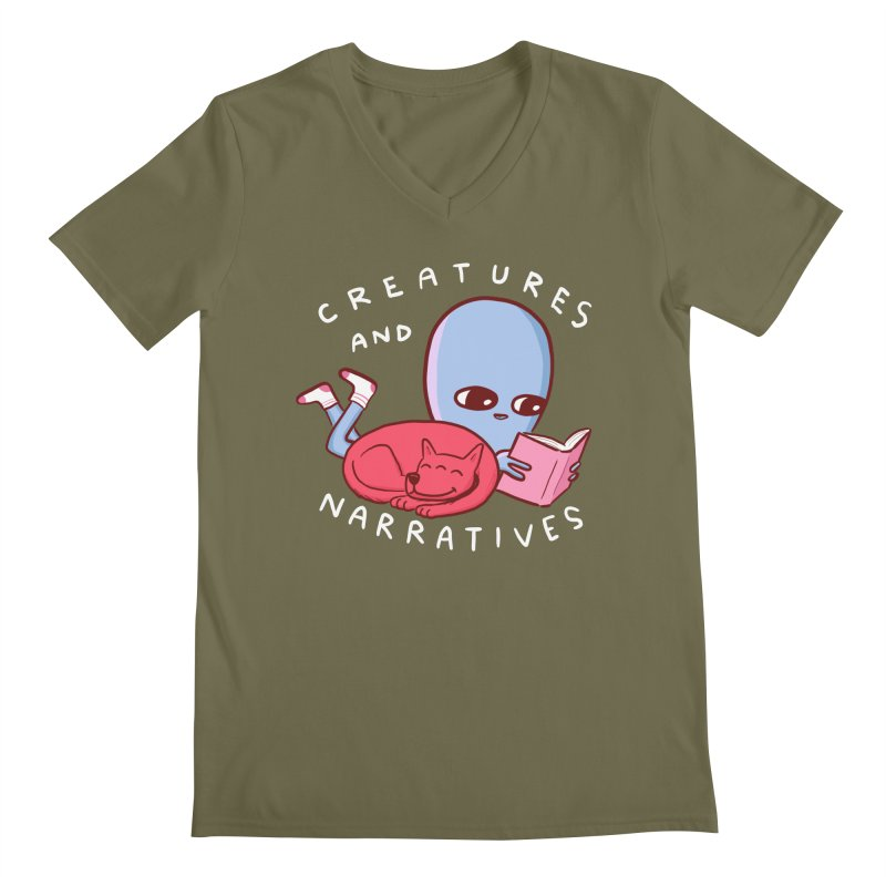 STRANGE PLANET SPECIAL PRODUCT: CREATURES AND NARRATIVE (MORAL CREATURE EDITION) Men's Regular V-Neck by Nathan W Pyle