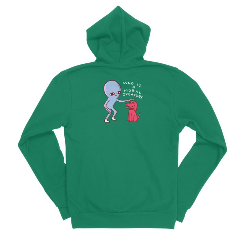 STRANGE PLANET SPECIAL PRODUCT: MORAL CREATURE Women's Sponge Fleece Zip-Up Hoody by Nathan W Pyle
