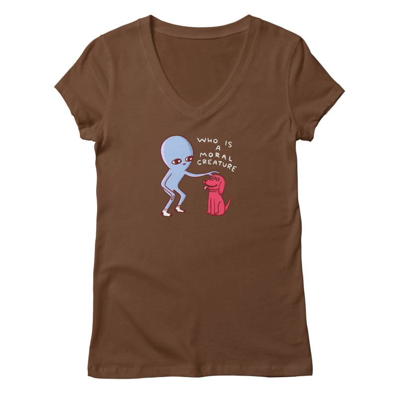 STRANGE PLANET SPECIAL PRODUCT: MORAL CREATURE Women's Regular V-Neck by Nathan W Pyle