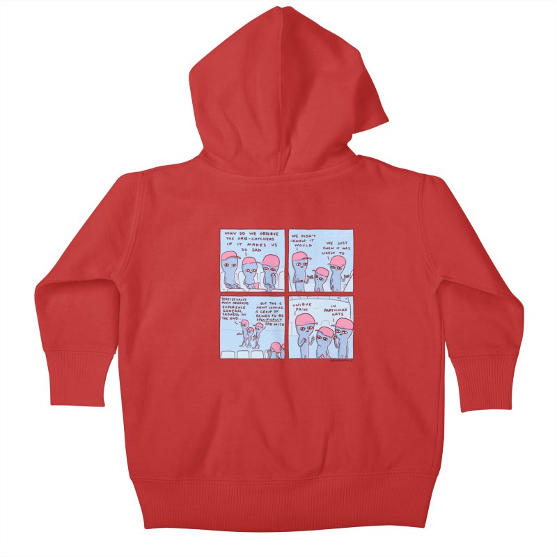 STRANGE PLANET: UNIQUE PAIN IN PARTICULAR HATS Kids Baby Zip-Up Hoody by Nathan W Pyle