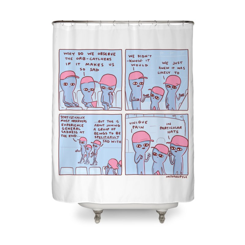 STRANGE PLANET: UNIQUE PAIN IN PARTICULAR HATS Home Shower Curtain by Nathan W Pyle