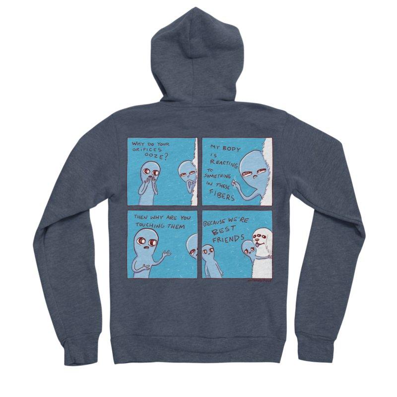 STRANGE PLANET: BEST FRIENDS Men's Sponge Fleece Zip-Up Hoody by Nathan W Pyle