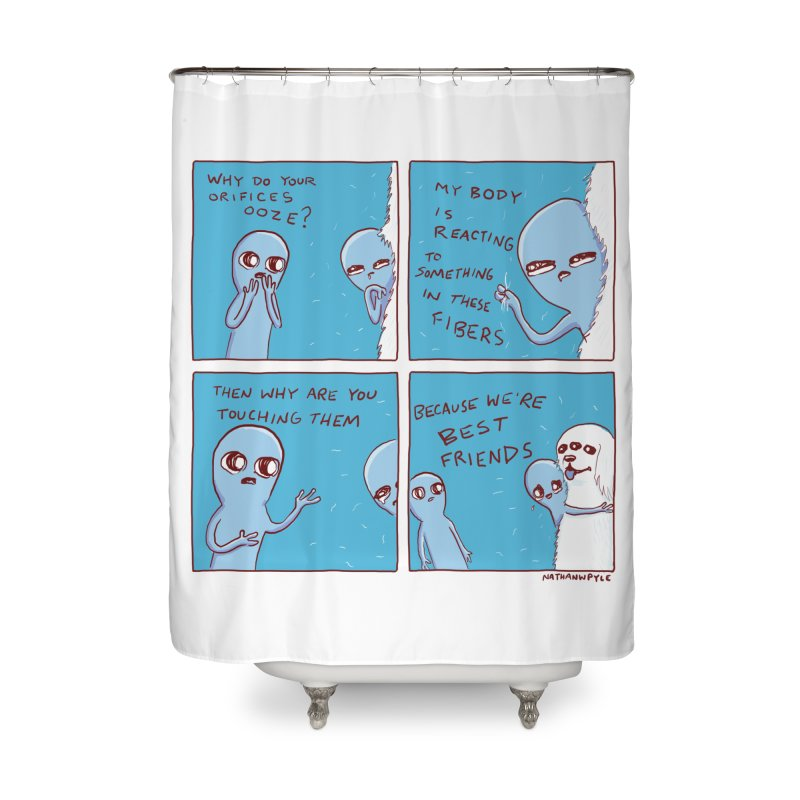 STRANGE PLANET: BEST FRIENDS Home Shower Curtain by Nathan W Pyle