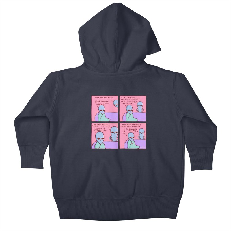 STRANGE PLANET: MOVEMENT IS UNNECESSARY Kids Baby Zip-Up Hoody by Nathan W Pyle