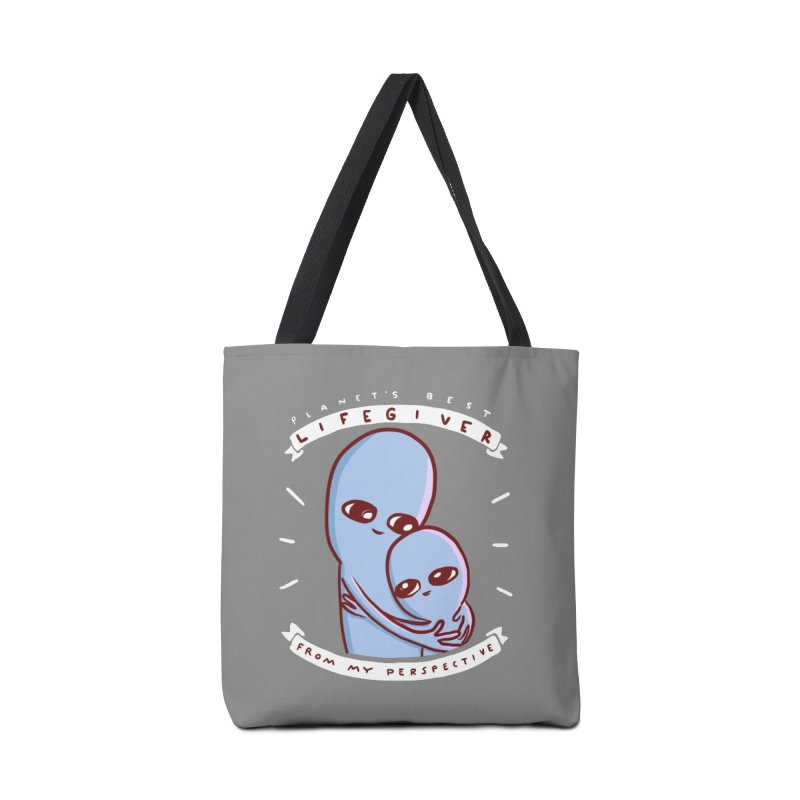 STRANGE PLANET SPECIAL PRODUCT: (GREY) PLANET'S BEST LIFEGIVER FROM MY PERSPECTIVE Accessories Tote Bag Bag by Nathan W Pyle