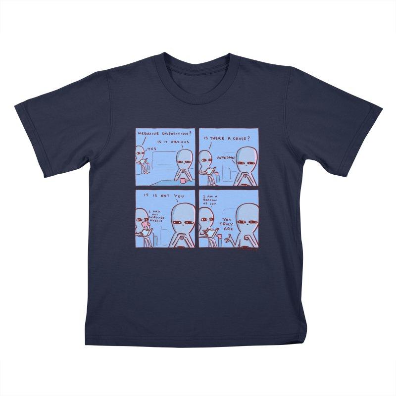 STRANGE PLANET: NEGATIVE DISPOSITION Kids T-Shirt by Nathan W Pyle