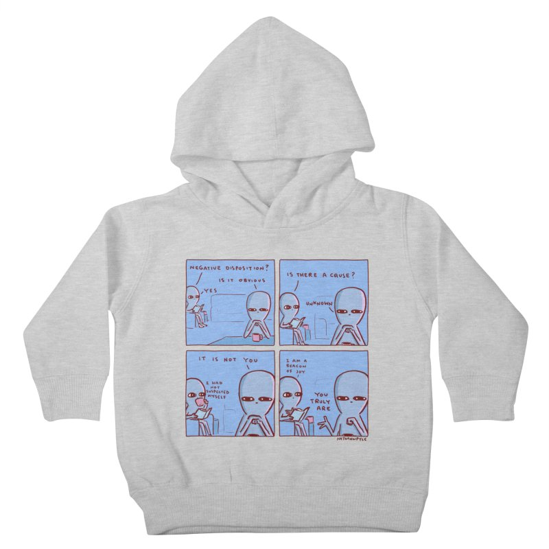 STRANGE PLANET: NEGATIVE DISPOSITION Kids Toddler Pullover Hoody by Nathan W Pyle