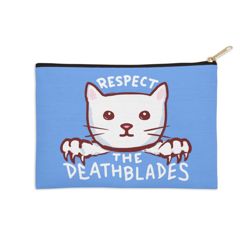 STRANGE PLANET SPECIAL PRODUCT: RESPECT THE DEATH BLADES (BLUE) Accessories Zip Pouch by Nathan W Pyle Shop | Strange Planet Store | Thread
