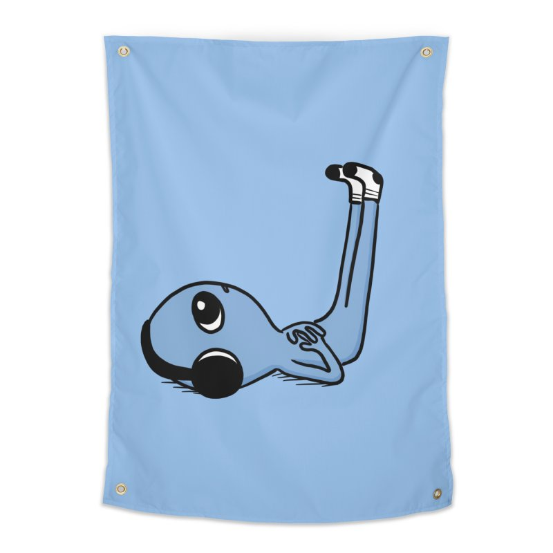 CENTERED HEADPHONES LIMB ELEVATION BEING - BLUE Home Tapestry by Nathan W Pyle Shop | Strange Planet Store | Thread
