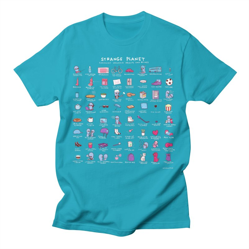 STRANGE PLANET: COMMONLY OBSERVED OBJECTS & BEINGS - BLUE Men's T-Shirt by Nathan W Pyle Shop   Strange Planet Store