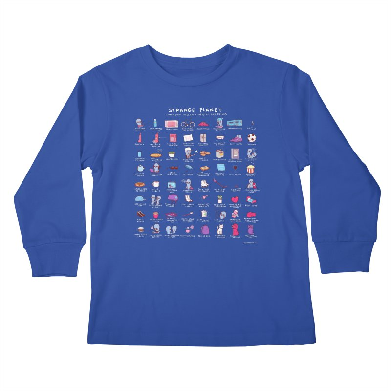 STRANGE PLANET: COMMONLY OBSERVED OBJECTS & BEINGS - BLUE Kids Longsleeve T-Shirt by Nathan W Pyle Shop | Strange Planet Store | Thread