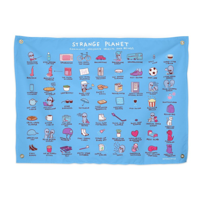 STRANGE PLANET: COMMONLY OBSERVED OBJECTS & BEINGS - BLUE Home Tapestry by Nathan W Pyle Shop | Strange Planet Store | Thread