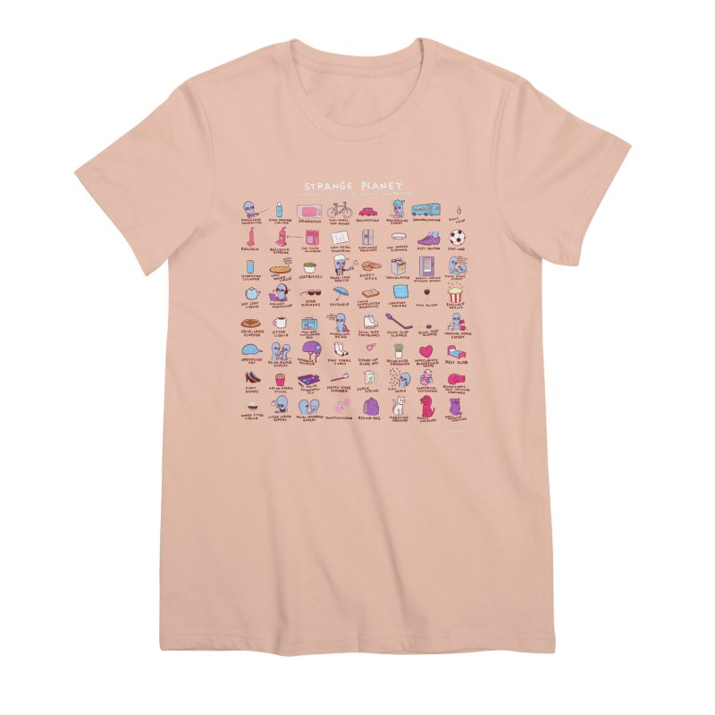 STRANGE PLANET: COMMONLY OBSERVED OBJECTS & BEINGS - PINK Women's T-Shirt by Nathan W Pyle Shop | Strange Planet Store