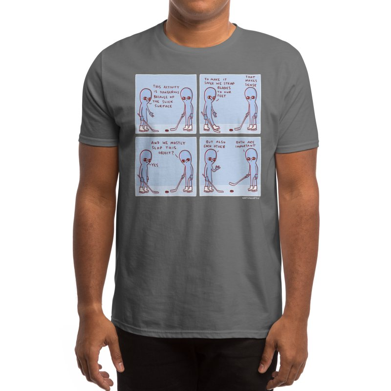 STRANGE PLANET: THIS ACTIVITY IS DANGEROUS BECAUSE OF THE SLICK SURFACE Men's T-Shirt by Nathan W Pyle Shop | Strange Planet Store | Thread