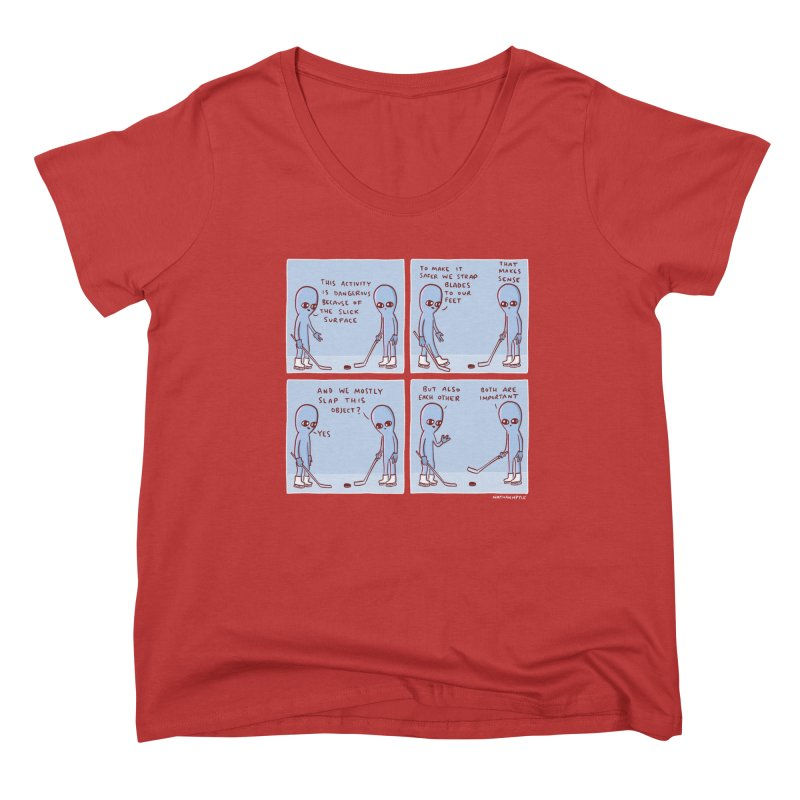 STRANGE PLANET: THIS ACTIVITY IS DANGEROUS BECAUSE OF THE SLICK SURFACE Women's Scoop Neck by Nathan W Pyle Shop | Strange Planet Store | Thread