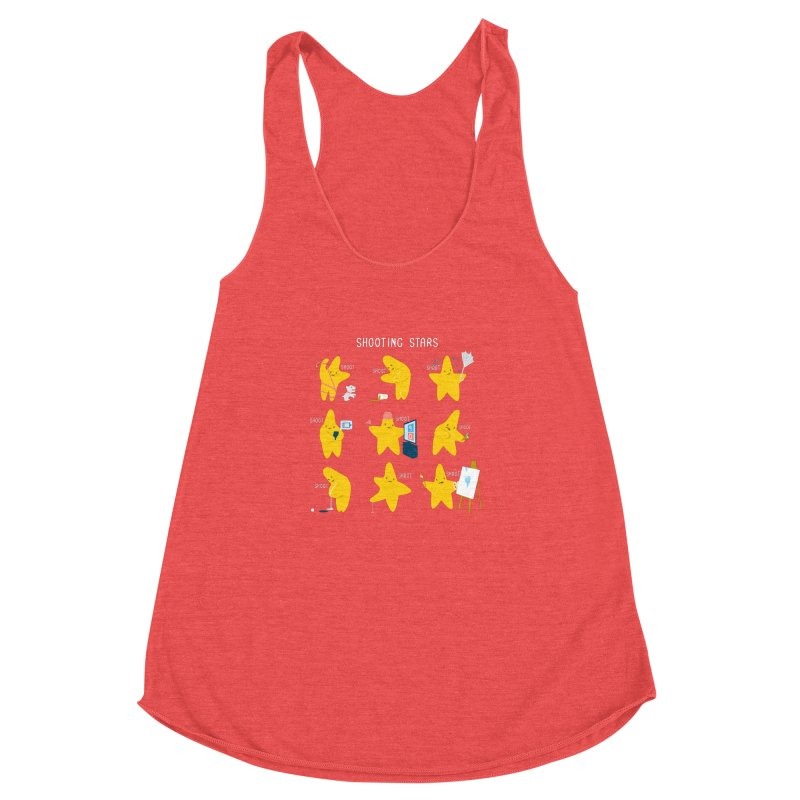 Shooting Stars! Women's Racerback Triblend Tank by nathanwpyle's Artist Shop