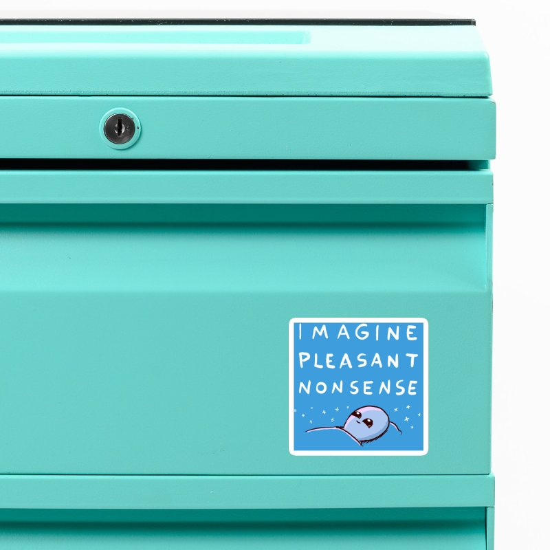STRANGE PLANET SPECIAL PRODUCT: BLUE STICKER IMAGINE PLEASANT NONSENSE Accessories Magnet by Nathan W Pyle