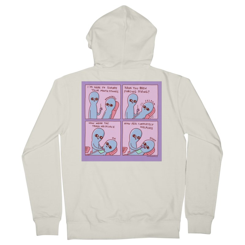 STRANGE PLANET: I'M HERE TO SCRAPE YOUR MOUTH STONES Men's Zip-Up Hoody by Nathan W Pyle