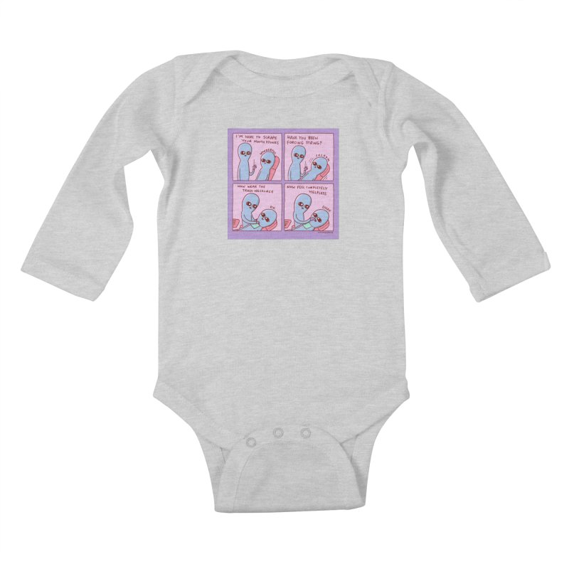 STRANGE PLANET: I'M HERE TO SCRAPE YOUR MOUTH STONES Kids Baby Longsleeve Bodysuit by Nathan W Pyle