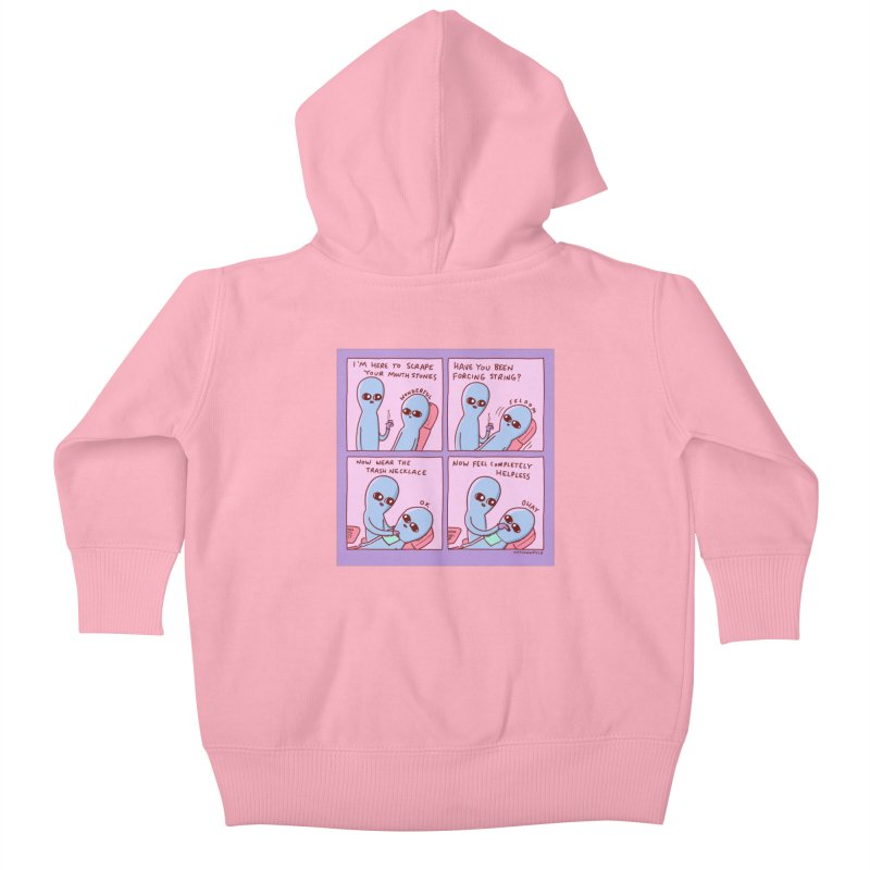 STRANGE PLANET: I'M HERE TO SCRAPE YOUR MOUTH STONES Kids Baby Zip-Up Hoody by Nathan W Pyle