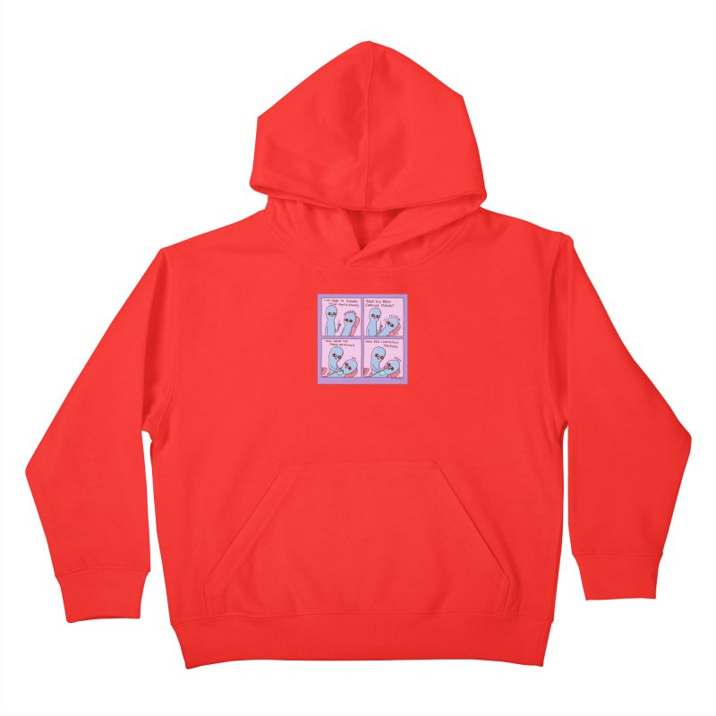 STRANGE PLANET: I'M HERE TO SCRAPE YOUR MOUTH STONES Kids Pullover Hoody by Nathan W Pyle