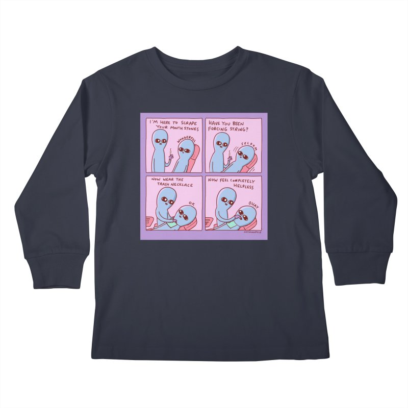 STRANGE PLANET: I'M HERE TO SCRAPE YOUR MOUTH STONES Kids Longsleeve T-Shirt by Nathan W Pyle